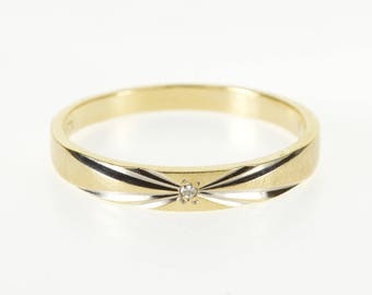14K Diamond Burst Design Grooved Texture Band Ring Size 6.75 Yellow Gold