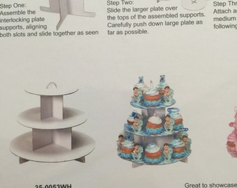 cup cake stand, A cardboard cake stand with 3 tiers,Ideal for tea parties, birthdays,weddings,baby showers,