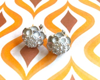 Vintage Silver/Matt silver earrings/Earrings Flowers 80s