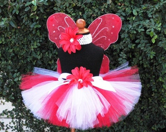 Tutu - Starlight - Red White Custom Sewn Tutu - Perfect for Christmas & Valentine's Day - Wings NOT included - newborn up to 5T