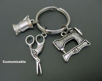 Seamstress Keychain / Scissors Keychain / Sewing Machine Keychain / Sewer Keychain / Spool of Thread / Quilt Maker Keychain / Taylor