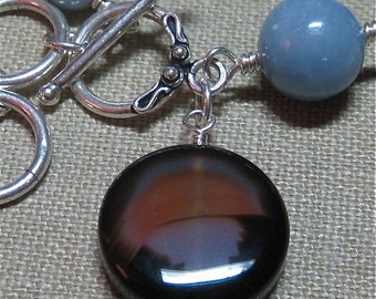 Brown Agate and Blue Angelite Charm Bracelet - B108