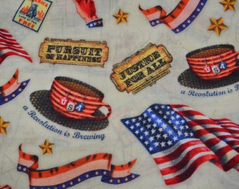 Patriotic Fabric, Americana Fabric, Election Fabric, Flag Fabric, Pursuit of Happiness Fabric, Stars Stripes Fabric, USA Fabric