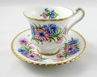 Paragon Tea Cup and Saucer with Pink and Blue Flowers, Cornflowers, Vintage Tea Cup, Bone China