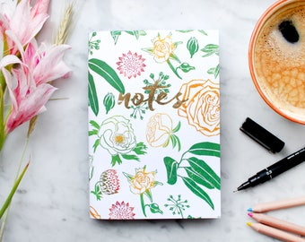 A6 Notebook / Sketch Book: Lino Print Floral Pattern with 40 pages 120gsm