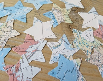 Upcycled Vintage world map confetti star