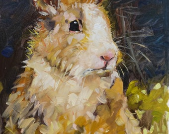 PRINCESS BUNNY small original bunny rabbit oil painting by Jean Delaney size 6 x 8 inch on 1/8th inch thick gesso board