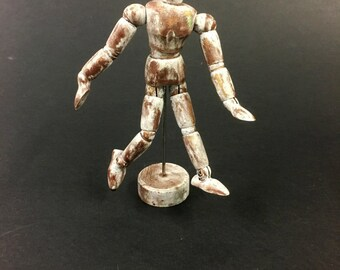 A small wooden mannequin in a distressed finish - Original handmade object - Unique piece