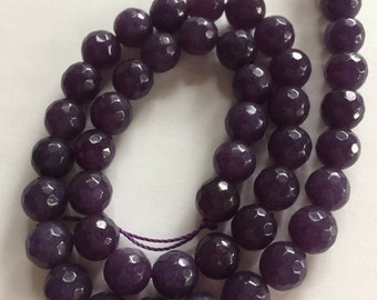 8mm JADE Beads in Mauve Purple, Faceted Stone, Round, Full Strand, 46 Pcs, Candy Jade, Mountain Jade, Gemstones