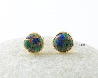 Azurite Sterling Earrings-Azurite 9x9mm Round Stud Gemstone Earrings-Sterling Silver Earrings-Gold Plated Earrings-Gift For Women