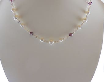 Purple Bridesmaid Necklace, Purple Swarovski Crystal Necklace, Bridesmaid Necklace Purple, Crystal Pearl Necklace, Lilac Crystal Necklace