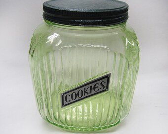 Hocking Green Vaseline Ribbed COOKIES 64 oz Canister Depression Glass 1930's