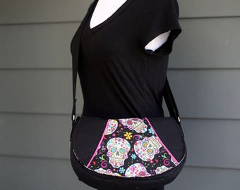 Sugar Skull Saddle Bag - Rosie Crossbody Bag - Day of the Dead - Black and Pink