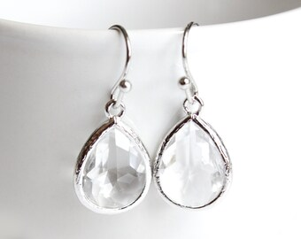 Crystal Clear Earrings. Silver Clear Earrings Teardrop Glass Earrings Transparent Earrings Clear Teadrop Crystal Clear Bridesmaids Earrings
