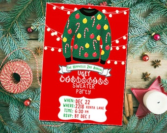 Ugly Christmas Sweater Party Invitation Design Download file ONLY