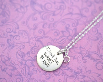 Actual Handwriting Pendant - Kids Handwriting - Kids Drawing - Mommy Jewelry - Keepsake - Heirloom