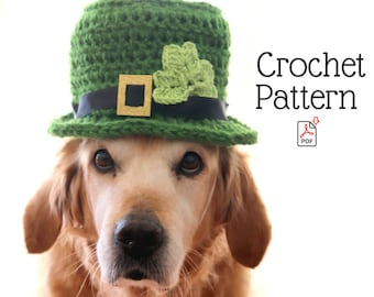 Crochet Pattern: Leprechaun Hat for M-L Breed Dogs, St. Patrick's Day Crochet Patterns for Pets, Leprechaun Dog Hat Crochet Pattern