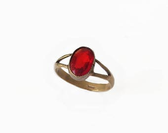 Vintage 1930's Art Deco Rolled Gold Ruby Red Paste Oval Ring Size R