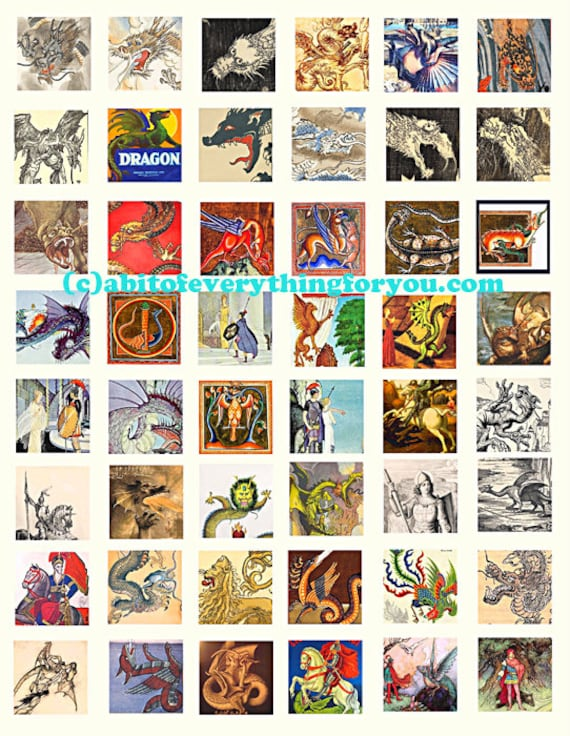 dragons paintings drawings vintage art collage sheet 1 inch squares clip art digital download graphics images printables
