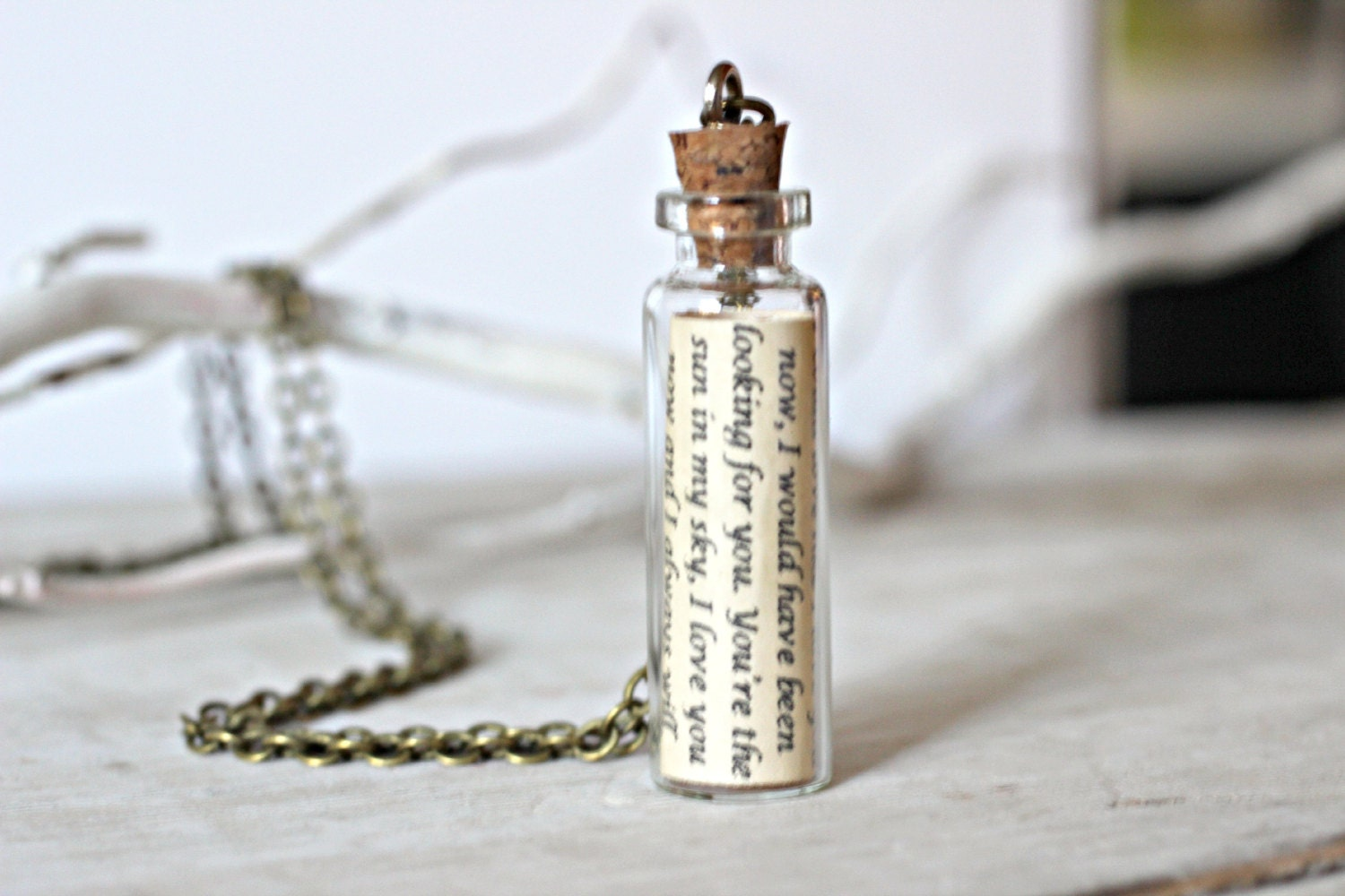 For Him Jewelry Message In A Bottle Necklace Personalized