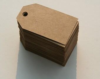 Kraft tags, Set of 100 Kraft tags, gift tags, 2.25x1.25
