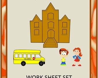 Teaching Materials, Instant Printable, Back to School, Home School, Get,Ready,Set,Go pre-school worksheet set, Pre-K,K,Special Ed,Autism