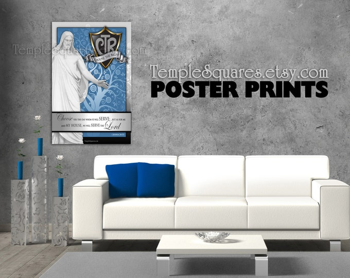 POSTERS - Large Printed Posters! LDS Primary Theme CTR Choose the Right. Joshua 24:15  Archival Ink Fine Art Poster Prints
