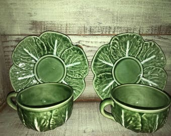 Lettuce style Teacups with Saucers