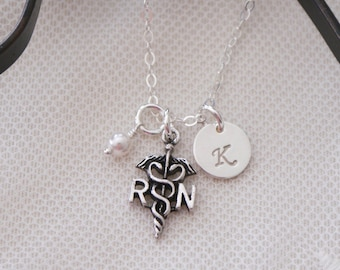 RN Graduation Gift, RN Necklace, rn Jewelry, Registered Nurse Necklace, Registered Nurse Gift, Personalized rn, rn charm necklace, Custom