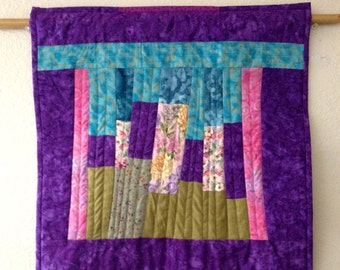 Quilted Abstract Fiber Art Wall Quilt