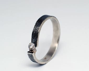 North Star Solitaire Diamond Rustic Engagement Ring Unique Engagement Ring Rustic Oxidised Sterling Silver Ring Modern Asymmetric Ring