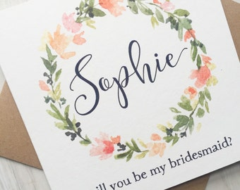 Will you be my bridesmaid card - Bridesmaid card - Personalised bridesmaid card - maid of honor card - flower girl card
