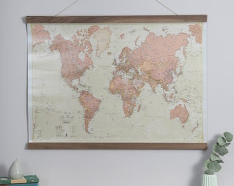 Antique World Map - home, wall hanging, push pin map, living room, gift, bedroom, home decor, map poster, study, FREE Shipping