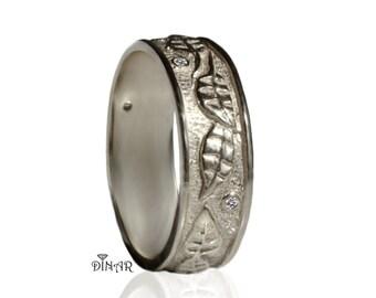 14k Hand engraved leaf wedding band, leafs wedding ring , vintage leaf gold band , 18k solid white gold engraved leaf band, woodland leafs
