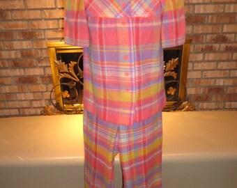Vintage 60s Bobbie Brooks Wool Plaid Pantsuit RARE!