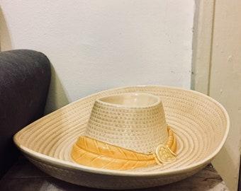 Sombrero/Cowboy Hat Chip & Dip Serving Tray | 1980s