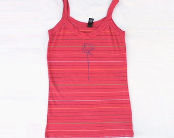 Red Striped Tank Top, Lotus flower tank, Lotus top, yoga top for women, best yoga gift, yoga mom, Christmas gift for mom, gift under 20