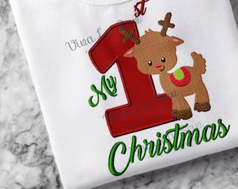 Instant download My First 1st Christmas Reindeer, Holiday, Fill Stitch, Appliqué Embroidery Design