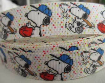 "3 Yards 7/8"" Grosgrain Printed Snoopy Baseball Ribbon"