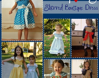 Teacup Tilly Shirred Boutique Dress PDF Sewing Pattern - Baby, Toddler, Girls, Sizes 12m, 18m, 2, 3, 4, 5, 6, 7, 8, 9, 10