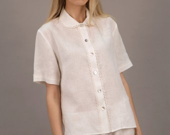 Linen  White Pajama Shirt / Linen White Pajama Top Laced/ Shortsleeve Shirt/ Top Oversize/ Loose Fit Pajama Top