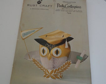 Vintage Unused Rust Craft Graduation Center Piece OWL Graduation by Rust Craft Owl Graduation Centerpiece Unopened Owl Centerpiece