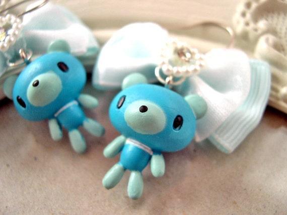 Blue Bear and Bow earrings Kawaii lolita cute bow