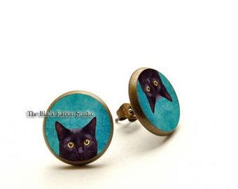 Peeking Cat Earrings, Black Cat Stud Earrings, Glass Dome Cat Jewelry, Hypoallergenic Earrings