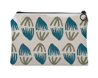 teal + olive pattern pouch, pochette, zipper pouch, clutch, makeup bag, toiletry bag, travel bag, purse, screen print, gifts for her