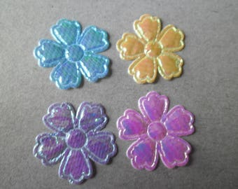 x 10 mixed embellishments of flowers brilliant 22 mm