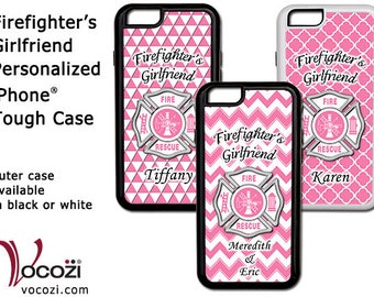 Firefighters Girlfriend Personalized iPhone® 7 Plus iPhone® 6 iPhone® 5 Tough Case Pink Maltese Cross  - Fire Fighter - Fireman
