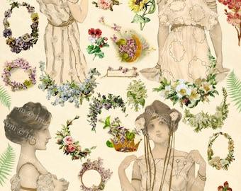 Digital Collage Sheet Forest Girls, Printables