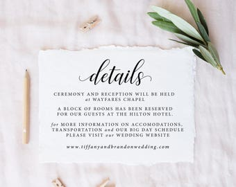 Details Card Template, DIY Wedding Insert Cards Editable PDF, Accommodations Card, Wedding Enclosure, Calligraphy Details Wedding Info Cards