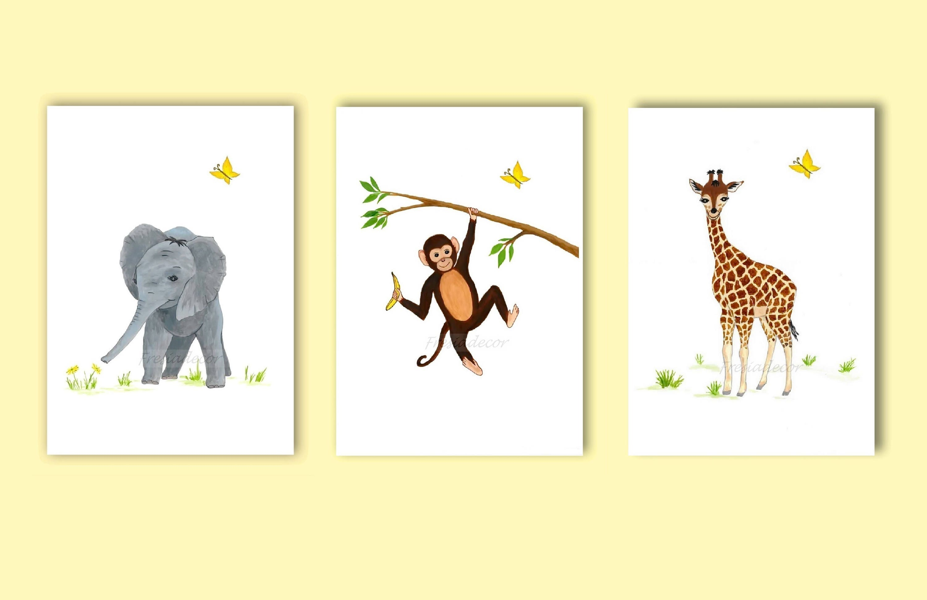 Set of 3 Safari Animal Nursery Printable Elephant Giraffe